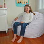 "Bean Bag Chairs for Girls Rooms - Ahh! Products lavender and white gingham checkered bean bag chair. Remove and wash cover, water-repel liner. 37"" wide large size. 10 year warranty, Made in USA."