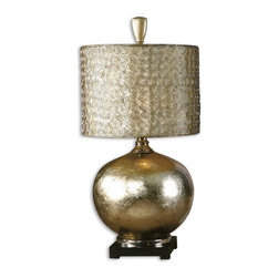 Uttermost - Uttermost Julian Lamp - Uttermost Rhona Table Lamp is a part of Carolyn Kinder Collection by Uttermost This lamp has an antique silver leaf finish with black dry brushing, nickel plated accents and a black base. The rectangular shade is a hand sewn bronze textile. Lamp (1)