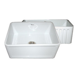 Whitehaus Collection - Whitehaus WHFLCON2418-BLUE 24 Reversible Fireclay Farmhouse Kitchen Sink - Whitehaus has the largest selection of fireclay farm sinks in the country and this reversible model is one of the newest ones on the market!