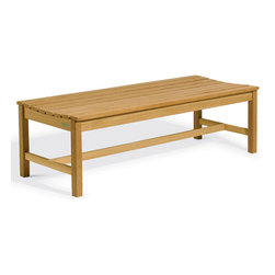 Oxford Garden - Backless Bench 5' - The design of the Backless Bench Collection is a sophisticated and updated take on the traditional picnic bench. The ergonomically curved seat enhances comfort. Handcrafted of shorea hard wood using mortise and tenon joinery, this bench is the best choice for enjoying the view from any direction. The 4G�� Backless Bench is intended to be used as a double seat in conjunction with the 2G�� Backless Bench and The Hampton Tables. This combination of seating creates a casual yet elegant dining setting.