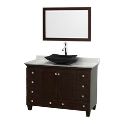 Wyndham Collection - Acclaim Bathroom Vanity in Espresso,White  Carrera Marble,Black Sink,Mirror - Sublimely linking traditional and modern design aesthetics, and part of the exclusive Wyndham Collection Designer Series by Christopher Grubb, the Acclaim Vanity is at home in almost every bathroom decor. This solid oak vanity blends the simple lines of traditional design with modern elements like beautiful overmount sinks and brushed chrome hardware, resulting in a timeless piece of bathroom furniture. The Acclaim is available with a White Carrera or Ivory marble counter, a choice of sinks, and matching mirrors. Featuring soft close door hinges and drawer glides, you'll never hear a noisy door again! Meticulously finished with brushed chrome hardware, the attention to detail on this beautiful vanity is second to none and is sure to be envy of your friends and neighbors