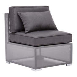 """Zuo - Zuo Clear Water Bay Outdoor Middle Chair - Transformative style and comfort are yours with this outdoor middle chair. Use alone or as a part of the Clear Water Bay modular seating set. Aluminum frame. Textile weave outer covering. Cushions are made of an antimicrobial foam with a UV and water-resistant fabric cover. From Zuo. 30"""" wide. 26"""" deep. 29"""" high.  Transformative style and comfort are yours with this outdoor middle chair.   Use alone or as a part of the Clear Water Bay modular seating set.   Aluminum frame.   Textile weave outer covering.   Cushions are made of an antimicrobial foam with a UV and water-resistant fabric cover.   Cushions included.  From Zuo.   30"""" wide.   26"""" deep.   29"""" high."""