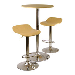 Winsomewood - Kallie 3-pc Pub Table And Stools Set In Natural - Kallie Pub Set includes one round table and two airlift swivel adjustable stools. Wood Veneer Top/Seat and Metal Base. Ready to Assemble. Natural color veneer.