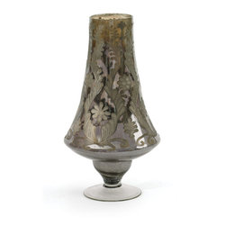 Go Home - Glass Shuttle Vase - Shuttle Vase has a unique finish and shape. With a tapered form and circular base, you won't find this unique vase just anywhere. Display it on the table, empty or full, for a beautiful vintage ambiance.Made of glass and has antiqued smokey etched finish.