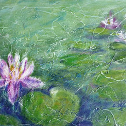 """Pond With Water Lily, Painting"" - ""Pond with Water Lily *** Monet painted around 250 paintings inspired by the water lilies from his pond. I passed by Monet's garden a few years ago, and images from his garden and pond remain in my memory since then. What a happiness to live as a painter in a such environment ! An endless source of inspiration. I started to create a series of paintings with water lilies, in homage to Monet. **** Acrylic on Stretched Canvas."""