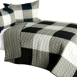 Blancho Bedding - [City Light - A] Cotton Vermicelli-Quilted Patchwork Plaid Quilt Set-Queen - The [City Light - A] Cotton Vermicelli-Quilted Patchwork Plaid Quilt Set-Queen includes a quilt and two quilted shams. This pretty quilt set is handmade and some quilting may be slightly curved. The pretty handmade quilt set make a stunning and warm gift for you and a loved one! For convenience, all bedding components are machine washable on cold in the gentle cycle and can be dried on low heat and will last for years. Intricate vermicelli quilting provides a rich surface texture. This vermicelli-quilted quilt set will refresh your bedroom decor instantly, create a cozy and inviting atmosphere and is sure to transform the look of your bedroom or guest room. (Dimensions: Full/Queen quilt: 90.5 inches x 90.5 inches; Standard sham: 24 inches x 33.8 inches)