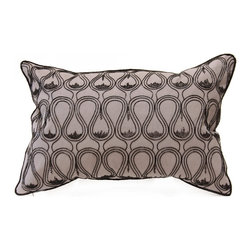 Minos Pillow - Black/Gray - A chic charcoal palette enhances the elegant urban effect of the Minos throw pillow's curvilinear patterning. The design, hand-embroidered in soft black onto suave grey natural linen, outlines rows of urn and vase shapes for a stunning geometric, neo-Classical effect. The outer edge is piped in black for a clear visual stop and a professional finish. A hidden bottom zipper closes the pillow's case over a natural feather insert, completing the luxury.