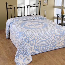 None - Florence Soft Cotton Chenille Bedspread - The Florence cotton chenille tufted bedspread features sophisticated style and old-fashioned charm. The bedspread has a center medallion and surrounding design,created with white chenille on a solid ground color and bottom bell corners.