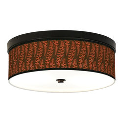 Stacy Garcia - Stacy Garcia Fancy Fern Plum Bronze CFL Ceiling Light - An energy efficient flushmount ceiling light with a giclee shade design by Stacy Garcia. This stylish, energy-efficient flushmount fixture features a custom-made giclee style shade with a pattern printed on high-quality canvas. An acrylic diffuser at the bottom prevents glare from the two included CFL bulbs. The canopy and accents are in a bronze finish. The giclee shade is made to order. U.S. Patent # 7,347,593.