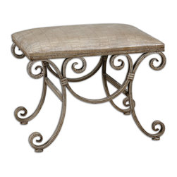Uttermost - Leontina Metal Frame Small Bench - Hand forged, fluted metal frame with warm beige wash and cocoa glaze. Cushioned seat cover is crocodile embossed, buff faux leather. Bulbs Included: No