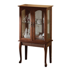 Furniture Creations - simply elegant curio cabinet - Elegantly proportioned curio graciously accents your favorite room.  Glass doors, graceful legs and stylish fittings dignify this beautiful cabinet.  Birch veneer; alder legs.  May require additional freight charges.  Cabinet contents not included.