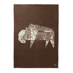 Faribault Woolen Mill Co. - Nature Series Jacquard Wool Throw, Brown - Bison - At Faribault Woolen Mill, our products have always exuded a sense of pride in our northern heritage. This new interpretation showcases it in a particularly striking way.
