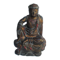 Golden Lotus - Chinese Black Golden Wood Kwan Yin Statue - This is a decorative Kwan Yin statue in vintage style finish. The surface is a layer of black lacquer and touched up with matte gold finish.