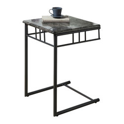 Monarch Specialties - Monarch Specialties 18 Inch Square End Table in Grey, Charcoal - What a convenient way to eat or drink on your couch! This classic grey marble-look snack table has sufficient space for you to place your snacks, drinks and even meals. Its charcoal colored metal base provides sturdy support along with an elegant touch that will suit any decor. What's included: End Table (1).