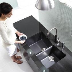 Granite Kitchen Sinks - 33 inch Undermount 60/40 Double Bowl Black Onyx Granite Kitchen Sink