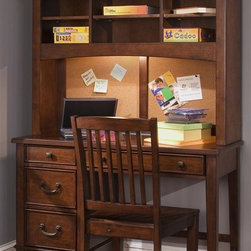 Liberty Furniture - Chelsea Square Youth Student Desk w Hutch - Chair sold separately. Six shelves. Three drawers. Kenlin drawer glides. French and English dovetail construction. Bottom case dust proof panels. Antique brass knobs and bail pulls. Warranty: One year. Made from select hardwoods and birch veneers. Burnished tobacco finish. Made in Vietnam. Desk: 44 in. W x 18 in. D x 30 in. H (85 lbs.). Hutch: 44 in. W x 12 in. D x 34 in. H (68 lbs.)
