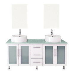 Double Lune White Large Vessel Sink Modern Bathroom Vanity with Glass Top