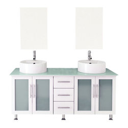 "JWH Imports - 59"" Double Lune White Large Vessel Sink Modern Bathroom Vanity with Glass Top - The epitome of form meets function, this contemporary double vanity boasts two sinks, two generously sized cabinets with frosted glass doors, and a middle panel of three sliding, soft-close drawers. Aesthetically stunning yet oh-so-practical, this bathroom vanity is an exquisite addition to your powder room with storage options aplenty."