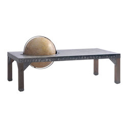 Kathy Kuo Home - Elliot Industrial Loft Metal Inset Globe Coffee Table - We've brought something new to the table…a globe. This industrial metal rectangular coffee table is finished in a unique, dark distressed patina. A globe, represented in sepia tones, is inset to allow for full rotation. This rustic table adds an eclectic, Old World accent to a library, office or living room.