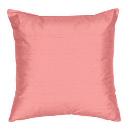 The Silk Group - Pink 22x22-Inch Silk Dupioni Square Poly Insert Decorative Pillow - - Handcrafted in the USA these decorative pillows are ideal for adding that special finishing touch to any space. Available in over 100 colors several of them can be combined for a grouping of complementary colors or contrasting shades. They feature 100% Grade A Silk Dupioni the finest highest quality most exquisite silk fabric on the market. A high quality knit backing is permanently bonded to the back of the fabrics used in our pillows. The knit backing adds body increased stability and longevity to the pillow. An invisible color-coordinated zipper is discretely placed on the bottom edge of the pillow so both faces of the pillow are able to be displayed. The pillow inserts we use are over-sized so our pillows will always have that desirable high soft and fluffy appearance. Our pillows are available without the insert too if you prefer to use your own. The fabric face has been treated with the most durable and permanent stain moisture and UV repellants available. This provides long lasting protection from water alcohol and oil-based stains as well as resistance from fading and discoloring over time.  - Fill Material: Down  - Dry Clean Only The Silk Group - SQ_Dup_Sol_Pink_22x22_Poly