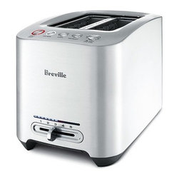 "Breville - Die-Cast 2-Slice Smart Toaster - Features: -Brushed die-cast metal. -Defrost, Reheat, Bagel, and Cancel. -Intelligent one-touch auto lowering. -Toasting progress LED. -Variable browning control. -Innovative Auto 'Lift and Look' and 'A Bit More'. -Can view toasting progression during cycle. Specifications: -Motorized lever lowers toast and raises when complete. -Toaster will revert to stand-by mode after 30 seconds. -LED toasting progress indicator with 5 slide setting variable browning control. -1-year manufacturer's warranty. -2-Slice Dimensions: 1.2"" W x 5.2"" D. -Overall Dimensions: 7.75"" H x 11"" W x 6.75"" D."