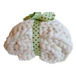 Chunky Merino Knit Throw, 42x60, Hand Knit - THE SMOOSH BLANKET™