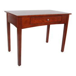 Alaterre Furniture - Shaker Cottage Writing Desk - Cherry - The Desk from Alaterre creates a practical area for study or simple home office. Create a simple computer station using this desk. The desk features one drawer under the work surface that can be used to organize your office supplies or features a flip down front for your keyboard. Versatile table works with a variety of décor styles & in any room. Finished on all sides. Made of select hardwoods & composite wood. Assembly required, but easy to assemble. Made in China. 40 in. L x 23 in. W x 30 in. H (59 lbs.)