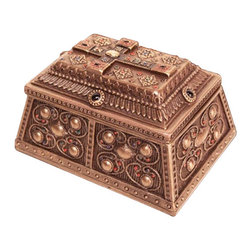 Hidden Gems Storage Block - The Hidden Gems Storage Block is not your average keepsake box. With its antique-bronze finish and adorned with Steampunk-inspired detailing and colorful jewels, this is one box to keep right out in the open for all to see���while keeping your secret mementos hidden.
