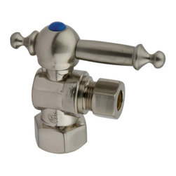 "Kingston Brass - Angle Stop with 1/2"" IPS x 3/8"" OD Compression - The 1/4-turn angle stop valve features a stylish vintage lever which controls the movement of water through and from plumbing fixtures. The valve is made of solid brass built for durability and dependability and also comes in a variety of finishes to better coordinate your kitchen/bathroom.; 1/4-Turn Angle Stop; 1/2"" IPS x 3/8"" OD Compression; English Vintage design; High Quality Brass Construction; Premier Finish Lever Handle; Material: Brass; Finish: Satin Nickel Finish; Collection: Vintage"