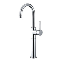 Kingston Brass - Single Handle Vessel Sink Faucet - The single handle vessel sink faucet emits a sleek, simple design that coordinates well with any sink to choose from. Its glamorous presence, as well as its functionality makes it a focal point in the bathroom.