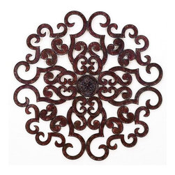 """Large Round Scroll Design Wall Grille - Brown Taupe 50"""" Round Scroll Design Wall Grille Forged by master craftsmen of tole Hand finished in a multi-step process 50"""" diameter Weight: 16 pounds 12 ounces Hooks on back for hanging"""
