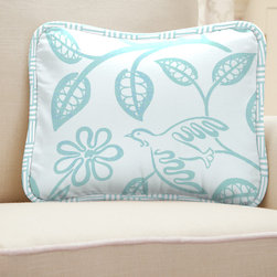 Lovey Dovey Decorative Pillow - Pillow front in Aqua Birds fabric, with reverse side in Aqua Birds. Edged in Aqua Mini Parquet piping.