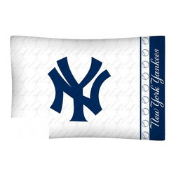 Sports Coverage - MLB New York Yankees Microfiber Pillow Case - Officially licensed MLB New York Yankees Microfiber coordinating pillow case to match Comforters, Pillow sham, Bedskirts and Draperies. The Pillowcase only has a white-on-white print and the officially licensed team name and logo printed in team colors. Made from 92 gsm microfiber for extra stability and soothing texture and is 100% Polyester. Wrinkle resistant and stain-resistant. Get your MLB Pillow Case Today.   Features:  -  92 gsm Microfiber,   - 100% Polyester,    - Machine wash in cold water with light colors,    -  Use gentle cycle and no bleach,   -  Tumble-dry,   - Do not iron,   - Pillow case Standard - 21 x 30,