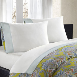 Echo - Echo Rio Cotton Sheet Set - The Rio sheet set is both an elegant and comfortable addition to any bed. Constructed of a 230 thread count cotton,this set features a white background and is bordered with a blue-grey colored cuff.