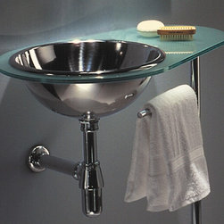Whitehaus - New Generation Aqua Laminated Counter Top w D - Includes towel bar post. Polished chrome wall mount supports. Matte glass counter top. Polished stainless steel basin on left side. Single hole faucet drilling. Inside bowl: 14 in. Dia. x 5 in. H. Outer: 26 in. W x 17 in. D x 34 in. H (30 lbs.). Warranty