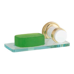 Renovators Supply - Soap Dishes White Brass Spectrum Soap Dish | 92356 - Soap Holder. The Spectrum Bath Collection features contrasting WHITE and BRASS accents. The flange is brass which is highlighted by contrasting white accents. The shelf resembles glass but is actually shatter-free lucite plastic. It measures 6 1/4 inch W and holds a bar of soap, not included.