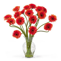 "Nearly Natural - Gerber Daisy Liquid Illusion Silk Flower Arrangement - Take a look at this Gerber Daisy silk arrangement!  Fun, excitement, and color only begin to describe its beauty.  Standing 21"" tall this exciting piece features eighteen stems of Gerber Daisy's set in a classic glass vase with artificial water.  If you're looking to brighten up your home or office decor, well-you've just found a winner.  Available in five gorgeous shades: beauty, orange, pink, red, yellow and mixed."