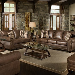 Simmons Upholstery - Larimie Godiva 4 Piece Queen Sleeper Sofa Set - 8361-QSLCO - Set includes Queen Sleeper Sofa, Loveseat, Chair and Ottoman
