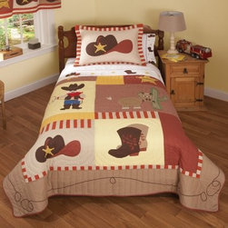 Pem America Cowboys Quilt Set - Saddle up pardner -- the Pem America Cowboys Quilt Set will inspire plenty of fun ropin' and ridin' dreams for your little buckaroo! Featuring a ten-gallon hat a pair of fancy cowboy boots a cowboy with rope and a friendly cow pony this quilt set will be a hit with your future cowboy. Each piece is pre-washed for a super-soft cozy feel and is made from durable 100% cotton fabric with 100% cotton fiber fill. This set is machine washable for easy care.Quilt Set Components:Twin: Quilt 1 pillow shamFull/Queen:Quilt 2 pillow shamsDimensions:Twin Quilt: 86L x 68W inchesFull/Queen Quilt: 86L x 86W inchesPillow Shams: 26L x 20W inchesAbout Pem AmericaMakers of high quality handcrafted textiles Pem America Outlet specializes in bedding that enhances your comfort and emphasizes the importance of a good night's rest. Quilts comforters pillows and other items for the bedroom are made with care and craftsmanship by Pem America. Their products cover a wide range of materials styles colors and designs all made with long-lasting quality construction and soft long-wearing materials. Details like fine stitching embroidery and crochet decorations and reinforced seaming make Pem America bedding comfortable and just right for you and your family.