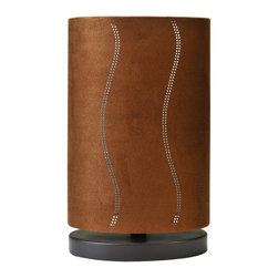 Joshua Marshal - One Light Black Suede Effect Oval Shade Table Lamp - One Light Black Suede Effect Oval Shade Table Lamp