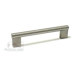 "Topex Decorative Hardware 5"" Centers Rectangular Pull in Stainless Steel -"