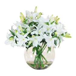 Winward Designs - Casablanca Deluxe In Bowl Flower Arrangement - Everyone loves the look of fresh flowers in the home, but the hassle of maintaining an arrangement can be daunting. Why not invest in a permanent display of your favorite bouquet to be enjoyed throughout the year? This chic spray of casablanca lilies is perfect for a grand entryway or dining room table.