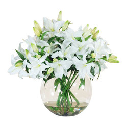 Winward - Casablanca Deluxe In Bowl Flower Arrangement - Everyone loves the look of fresh flowers in the home, but the hassle of maintaining an arrangement can be daunting. Why not invest in a permanent display of your favorite bouquet to be enjoyed throughout the year? This chic spray of casablanca lilies is perfect for a grand entryway or dining room table.