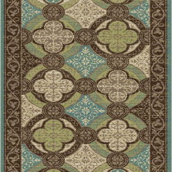 Capri Collection CPR1005 - This old world design has been rejuvinated with exciting colors. A morrocan tile patterned transitional area rug that will add a touch of exotica and charm. In shades of lush brown, aqua blue, citron green, creamy ivory, mocha, and goldleaf.  This rug comes in various sizes and also in round to create a unified look throughout the home. Machine made of polypropylene to be durable and carefree. Vacuum often and spot clean when necessary, using mild detergent and no bleach. Also available in 2x3, 2x8, 5X8, 6' Round, and 8x10
