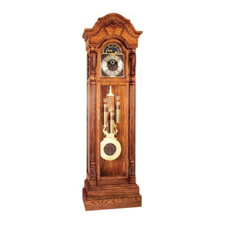 "Ridgeway Clocks - All Wood Grandfather Clock with Olive Ash Bur - Finished in warm treasure ash, this grandfather clock is crafted of quality hardwoods and olive ash burl veneers. Boasting full side returns, no detail is spared on this stunning time-telling device. A functioning moon dial is located above a dial featuring raised cast corner spandrels and also boasts elegant raised Arabic numerals. * Treasure Oak finish on select hardwoods and ash veneers.. Olive ash raised burl is rubbed to highlight the swirls on the multi-stepped arched bonnet Full side crown returns.. The dial features raised cast corner spandrels and center design against a dark brown hue.. Raised Arabic numerals are featured with a functioning moon dial.. A large lyre pendulum with twisted rods and 10 7/8"" (275mm) bob with a raised ornate center design and banded weight shells, beveled glass on thelower lockingdoor and beveled sides.. The mechanical cable movement plays a choice of three chimes, the Westminster, St. Michael and Whittington.. An automatic night silence option comes with this movement.. 87"" (221cm), W 26 1/4"" (67cm) D 14 3/4"" (38cm)"