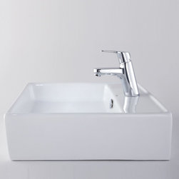 Kraus - Kraus C-KCV-150-14901BN White Square Ceramic Sink and Ferus Basin Faucet - Add a touch of elegance to your bathroom with a ceramic sink combo from Kraus