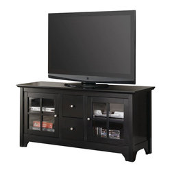 Walker Edison - Walker Edison 52 in. Wood TV Console with Two Drawers in Matte Black - Walker Edison - TV Stands - W52C2DWBL - Elegance and function combine to give this contemporary wood TV stand a striking appearance. Stylish classic design crafted from solid Asian hardwood will accommodate most flat-panel TVs up to 55 in. Adjustable shelves behind attractive glass-paned doors allow for a variety of A/V components. Two multi-functional drawers provide additional storage for media accessories this stand is sure to please.