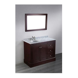 Bosconi - 45 in. Single Vanity in Espresso Finish - Faucet and drain not included. Two soft closing doors. Three soft closing drawers. Silver finished hardware. Under mount white ceramic single sink. Three 8 in. standard faucet holes. Overflow drain. 0.5 in. thick white Carrera marble countertop. CARB PH2 Certified MDF sides and paneling. Made from birch solid wood frame. Matching backsplash: 0.5 in. D x 2.75 in. H. Mirror: 25 in. W x 38 in. H (27.5 lbs.). Sink: 18 in. W x 15 in. D x 7.7 in. H. Vanity: 45 in. W x 21 in. D x 35 in. H (167 lbs.)A double cabinet with three drawers is a great option for people who want to maintain an organized approach to storage in the bathroom while deriving the benefits of sufficient storage space and stunning aesthetic appeal. Vanity together with the horizontally mounted mirror, combination of grace and beauty. Choose Bosconi for a lifetime of pleasure and purpose.