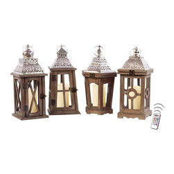 """Asian Import + USA - Key West Lantern Collection Set of 4 with Flameless Candles - This lantern collection is the perfect blend of traditional""""and tropical designs with Caribbean influences. Styled like the Chateau models, they can make perfect accent pieces as table centerpieces or clustered in a large living area. The set includes an assortment of four wooden lanterns 14"""" high and 7"""" wide. Included are 1.9"""" votive color candles with remote control timer. Note that candles pictured are for presentation only. The candles included in the set are described above. Set of 4"""