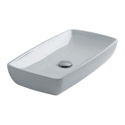 "H10 60 Countertop / Undermount Bathroom Sink, Rectangular - H10 60, 23.6"" x 12.6"" x 4.0"", Countertop / Undermount Bathroom Sink in Ceramic White"